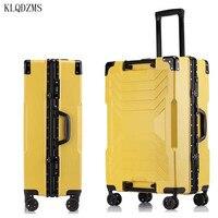 KLQDZMS Frauen Mode Reise Koffer Auf Rädern 20''24'26''29 Zoll Männer vintage Spinner Roll Gepäck Business Koffer Hot