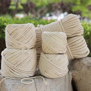 Natural Beige Soft Cotton Cord Rope Craft Macrame Artisan String For Handmade DIY Handmade Tying Thread Cord Rope 1mm*100m