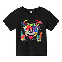 Disney Colorful Mickey Mouse Cartoon T shirts for Kids Boys O-neck Tee Tops Summer Toddler Baby Shirt for Girls Children Clothes