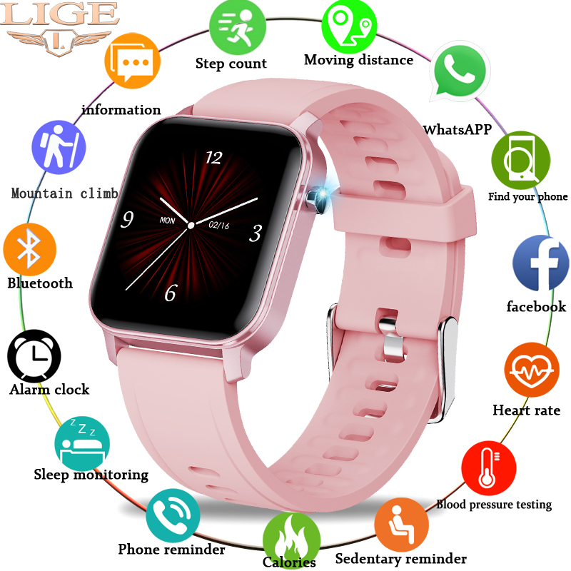 LIGE Woman Smart Watch Women Fitness Watch Smart Watch Men Waterproof Music Weather Display for Android ios Reloj Inteligente