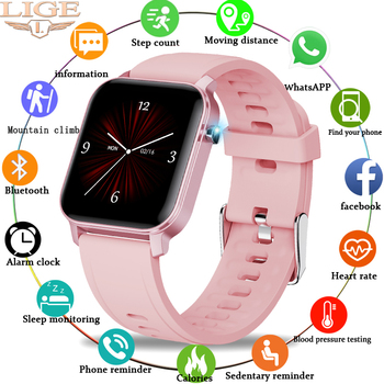 LIGE Woman Smart Watch Women Fitness Men Waterproof Music Weather Display for Android ios Reloj Inteligente