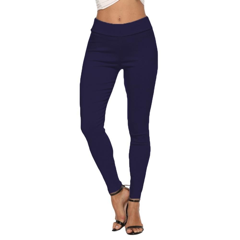New Fashion Women Elastic Waist Mid Waist Skinny Trousers Autumn Office Lady Elegant Slim Fit Vertical Women Casual Pencil Pants