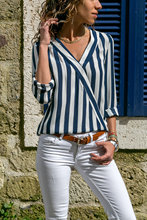 Autumn and winter V-neck striped loose cross shirt, long sleeve , simple Fashion Chiffon shirt