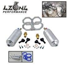 Lzone-um pedaço duplo buraco bomba de combustível suporte + duas peças 044 bomba de combustível 300lph JR-FPB044 + ld2611