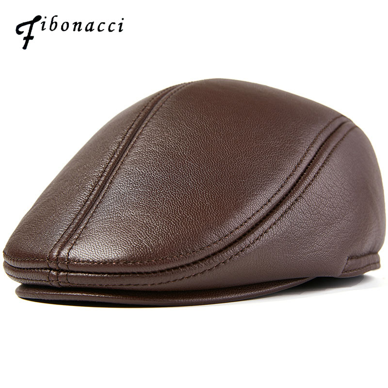 Fibonacci Goat Genuine Leather Newsboy Cap Multiple Sizes Middle Aged Old Age Vintage Flat Dad Hats Men Autumn Winter Beret Hat