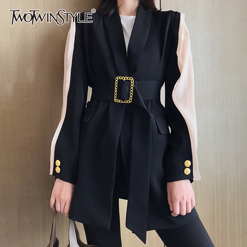 TWOTWINSTYLE Elegant Women's Blazer V Neck Hit Color Patchwork Sleeve Tunic Lace Up Autumn Long Blazers Female 2019 Fashion
