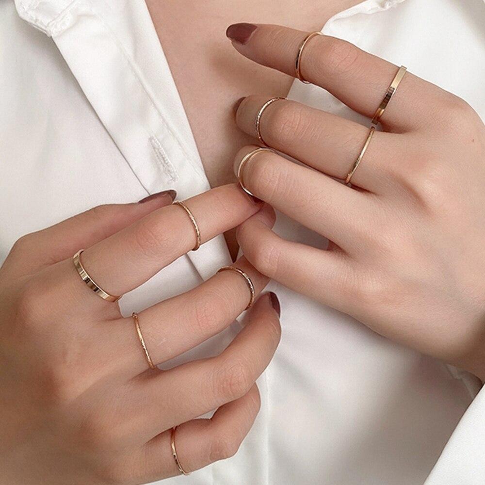 10 unids/set de anillo de moda minimalista Punk Midi redondo Twist para mujeres Bohemia Vintage Metal dedo nudillo anillos joyería