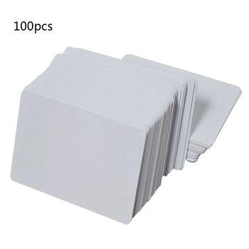 цена на 100Pcs Premium White Blank Inkjet PVC ID Cards White Plastic Double Sided Printing DIY ID Badge Cards