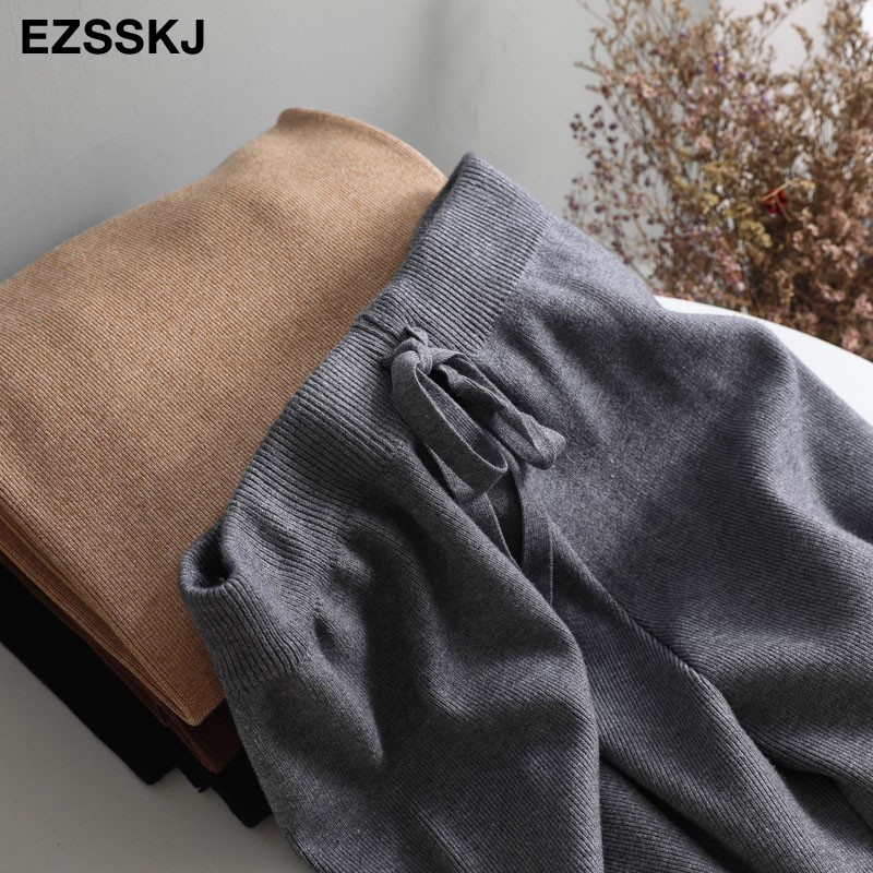 2019 autumn winter new THICK casual straight pants women female drawstring loose knitted wide leg pants casual Trousers 13