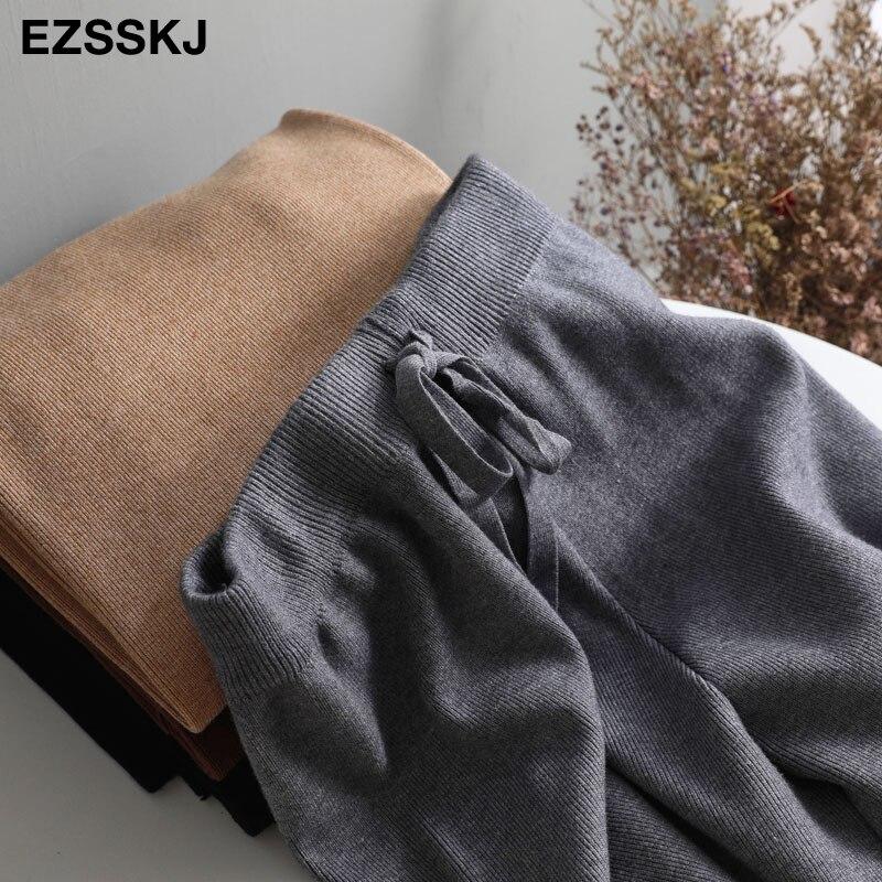 Image 5 - 2020 jesienno zimowa nowe grube dorywczo proste spodnie damskie kobiece sznurkiem luźny, dzianinowy spodnie szerokie nogawki spodnie typu casualSpodnie i spodnie capri   -