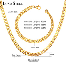 Necklace-Set Stainless-Steel Chains Accesorios Silver-Color 7mm Men 50cm 55cm 60cm Mujer