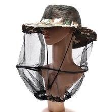 Шляпа пчеловода с широкими полями Камуфляж Москитная сетка рыболовная Кепка пчела летающие насекомые x1 шт