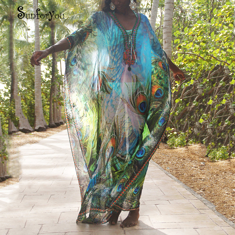 Plus Size Chiffon Beach Cover Up Women Dresses 2020 Robe De Plage Vestidos Sarong Swimsuit Cover Up Pareos De Playa Mujer