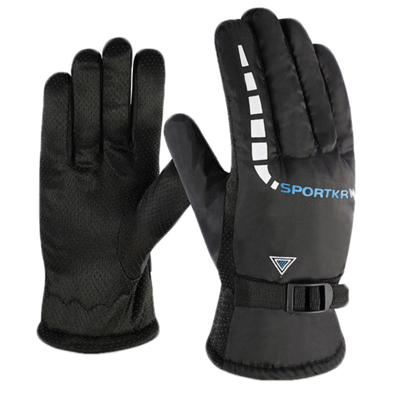 Outdoor Bicycle Riding Motorcycle Gloves Cold Wear Velvet Thickening Ski Gloves Waterproof Autumn Winter Windproof Warm Non-slip