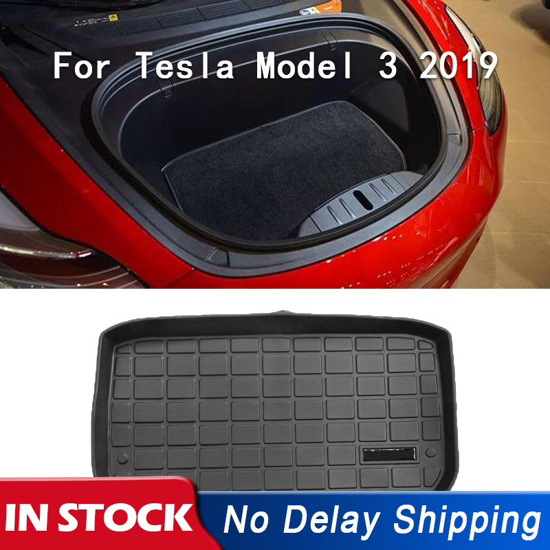 Mats Floor-Mat Trunk Cargo-Tray Auto-Accessories Tesla-Model Rubber Waterproof for Black title=