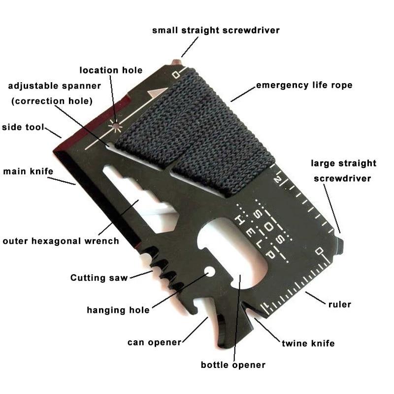 EDC — Couteau de chasse de poche multifonctionnel, carte de crédit, outils d'urgence de sauvetage et de survie en cas de sos lors des sports en plein air, ou de randonnées 1