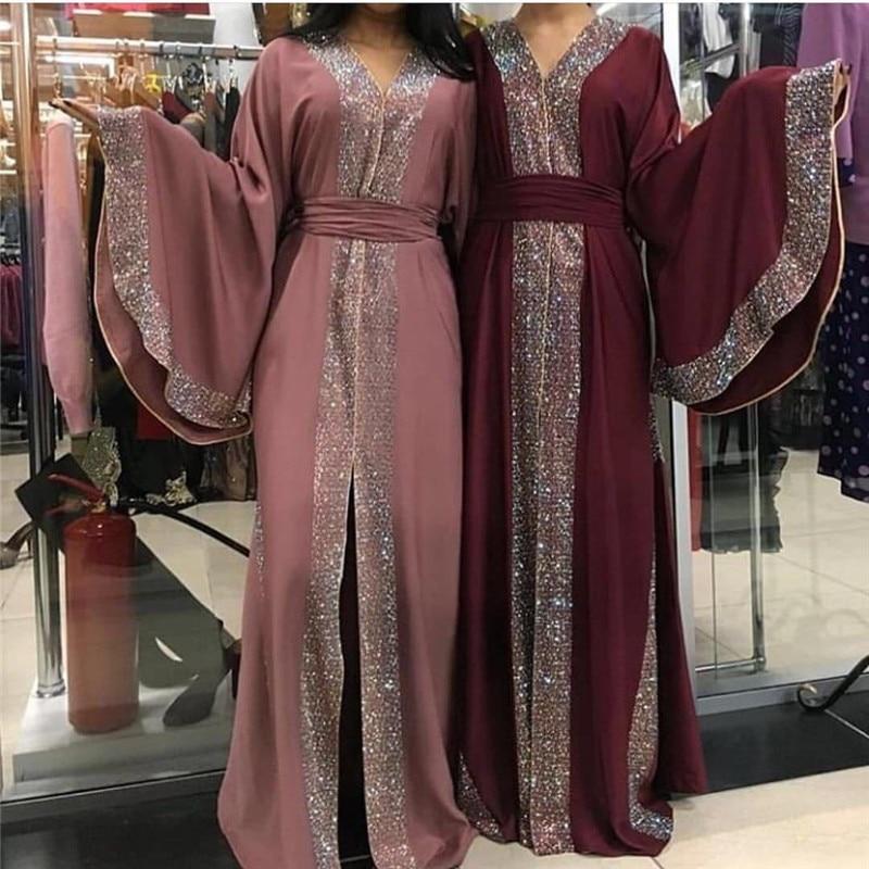 Fashion & Elegant Women Long Maxi Tukish Islamic Dubai Abaya Dress Luxury Dubai Caftan With Diamonds Shiny Muslim Open Abaya