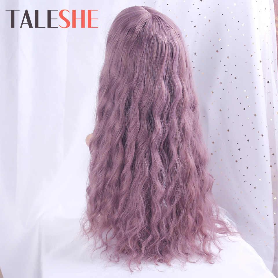 TALESHE Lange Wellenförmige mit Air Pony Wasser Welle Synthetische Perücken für Frauen Lolita Natürliche Haar Lila 26 zoll Cosplay Schwarz braun