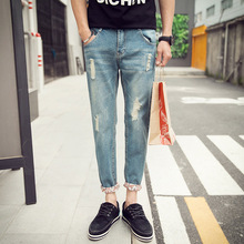 HENCHIRY 2020 New Fashion Streetwear Top Spring & Summer Jeans Korean-style Trend Pants Men Loose Casual jeans  Sale