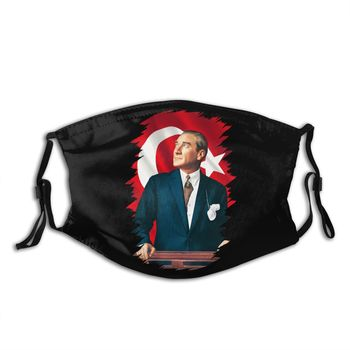 Ataturk Mouth Face Mask Mustafa Kemal Ataturk Facial Mask Cool Fashion with 2 Filters for Adult helloween mouth face mask gamma arctica priest facial mask fashion cool with 2 filters for adult