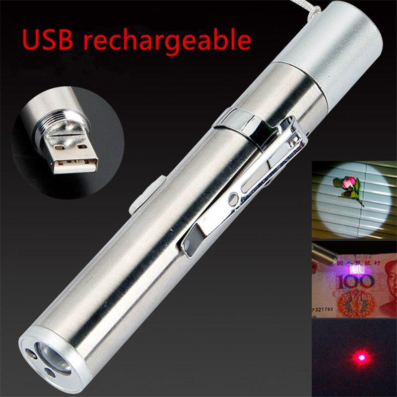 Mini PUNTERO LÁSER ROJO USB recargable 3 en 1 linterna recargable linterna UV pluma láser multifunción Powerpoint