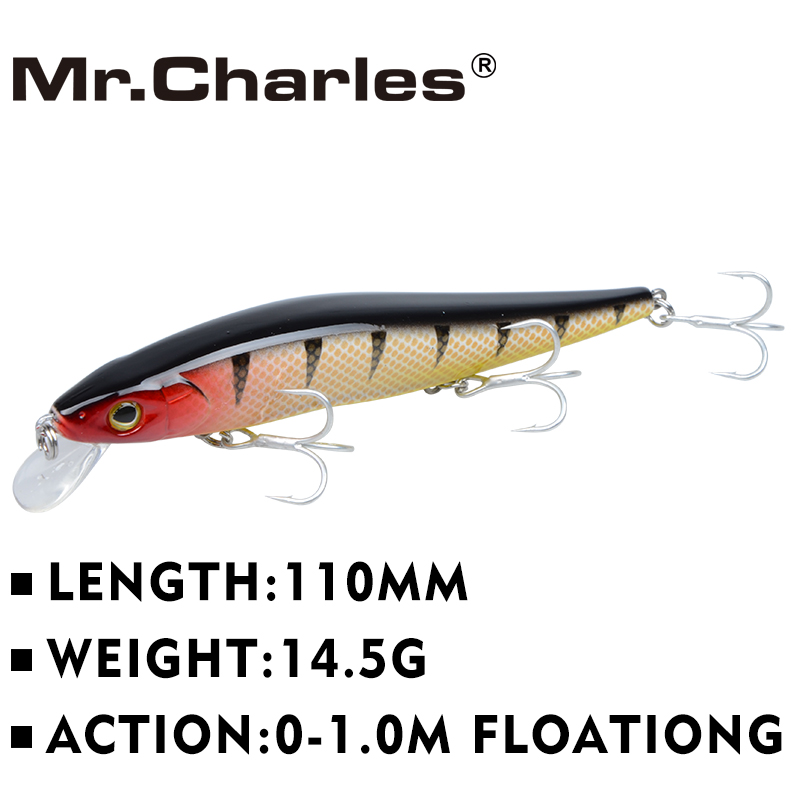 Mr.Charles CMC004 Fishing Lure 110mm/14.5g 0-1.0m Floating Super Minnow Three Hooks Crankbait Long Shot Hard Bait