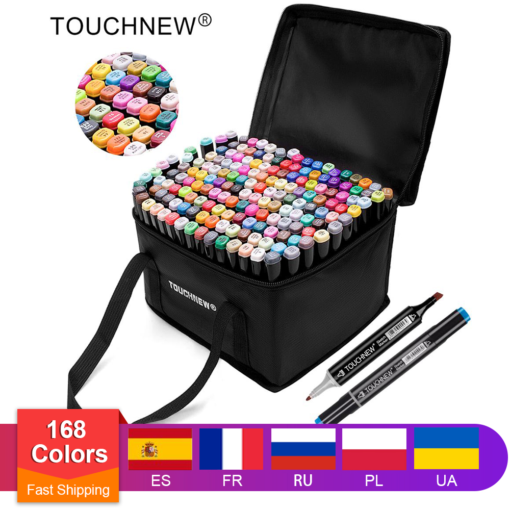 TOUCHNEW Markers-Brush Permanent-Markers Alcohol-Ink Dual-Tips Professional Art-Design