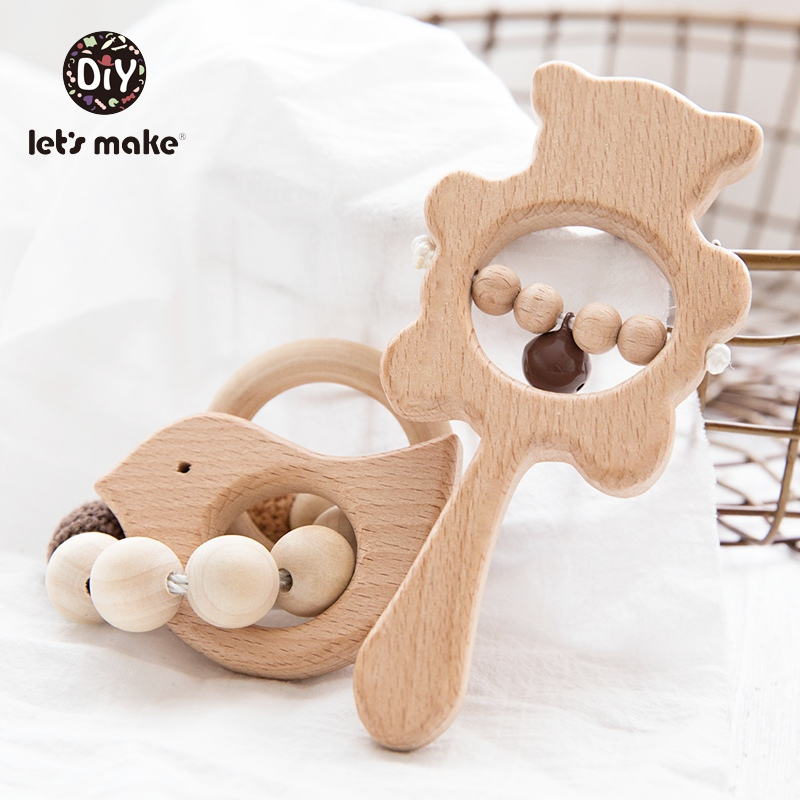 Let's Make Wooden Baby Toys Bracelet 2pcs/set Bear Animal Cartoon Handing Nurse Gift Wooden Blanks Rattles For Children Bed Bell