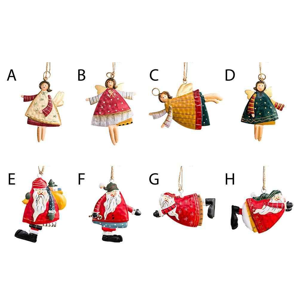 2020 クリスマスツリーエンジェルベアサンタ鐘の装飾クリスマスパーティー結婚式の装飾金属鉄ハンガークリスマスギフト