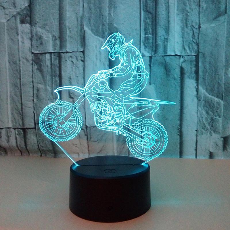 3D Table Lamp Atmosphere Christmas Xmas Bright Desk Light Touch Control Motocross Bike Modern Indoor Lighting Night Light