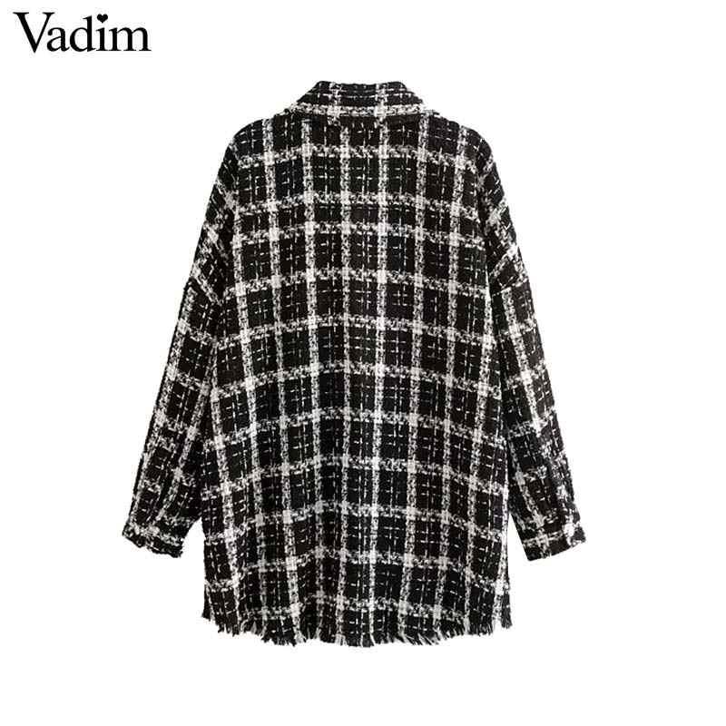 Vadim frauen plaid übergroßen tweed jacke quasten taschen lose stil langarm mäntel weibliche outwear kausal chic tops CA615
