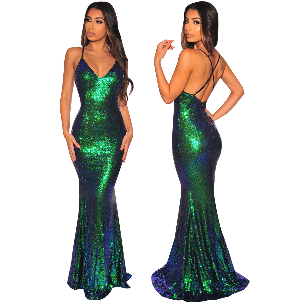 Sexy Cross Strapped Dress Women Sequin Evening Gown Spaghetti Straps Deep V-Neck Mermaid Ladies Party Vestidos Woman Clothing