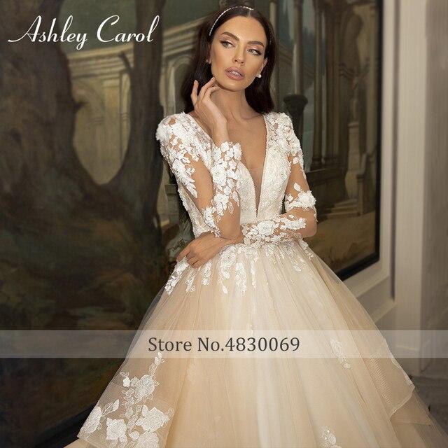 Ashley Carol A-Line Wedding Dress 2021 Glamorous Princess Long Sleeve Beading V-Neckline Appliques Bridal Gown Bride Dresses 2