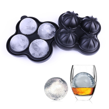 2020New Food grade silicone 4-hole ice hockey ice tray round Big Ice Hocke Silicone Round Ball Whiskey Ice Hockey Mold Wholesale image