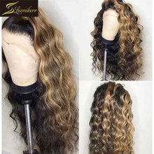 Pelucas de cabello humano ondulado para mujeres negras, peluca Frontal rizada de color, sin pegamento, ombré peruano 13x6 HD transparente