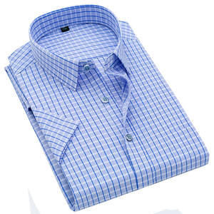 Print Shirt Short-Sleeve Classic Official Plaid Plus-Size Men's Business Cotton New-Products