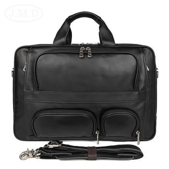 New Men Computer Handbag 100% Real Leather Laptops Large Capacity Travel Briefcase Business 17 Inch Laptop Attache Messenger Bag