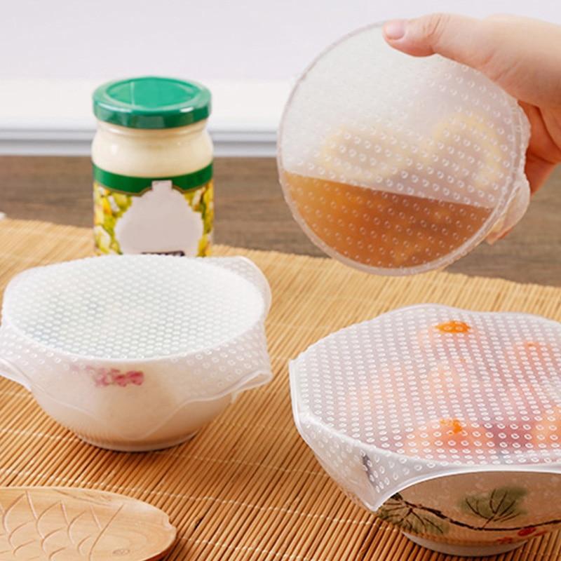 4pcs Stretch Reusable Silicone Bowl Food Storage Wrap Cover Seal Fresh Lids Film
