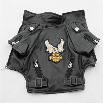 Eagle Pattern Leather Look Dog Coat