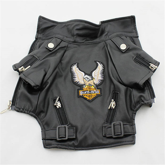 Eagle Pattern Leather Look Dog Coat