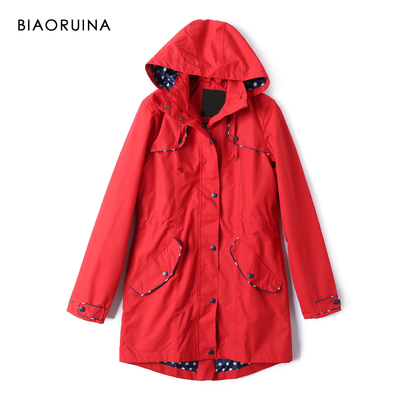 BIAORUINA Women's Red Casual Long   Trench   Polka Dot Printed Lining Female Waterproof Straight Fashion Coat Hooded Outerwear