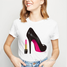 Cute pink lipstick high heel shoe print paris style tee shirt femme hipster vogue t streetwear personality woman clothes