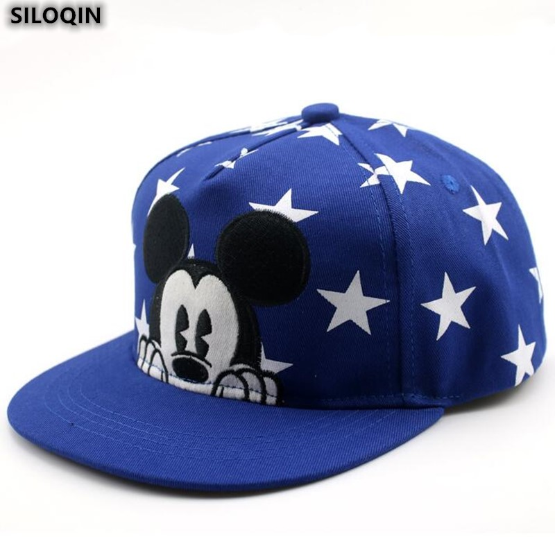 SILOQIN New Cartoon Mickey Children Hat Snapback Fashion Cotton Baseball Caps For Boys Girls Adjustable Size Sports Hip-hop Cap