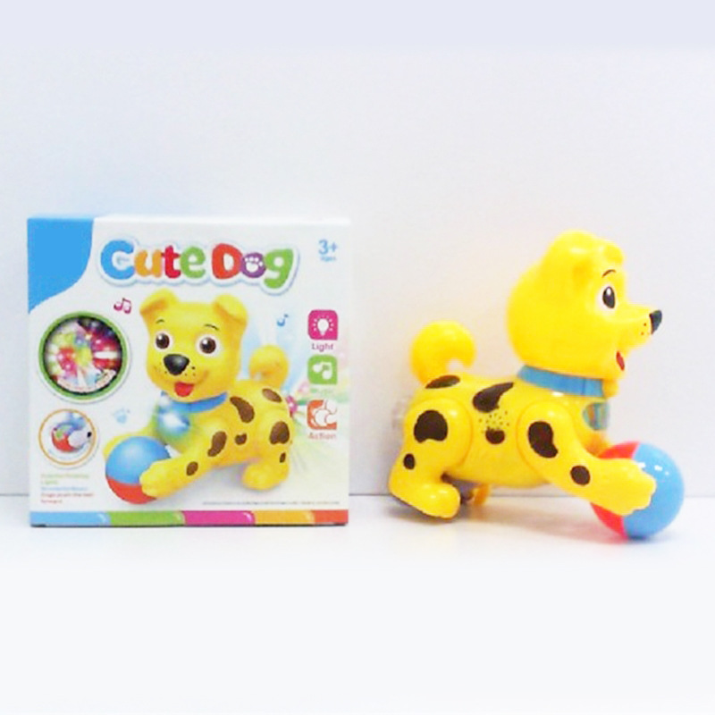 Children Dog Toy With Light And Music Electric Walk Puppy Educational Cartoon Flash Crawling  Model Small Adorable Dog