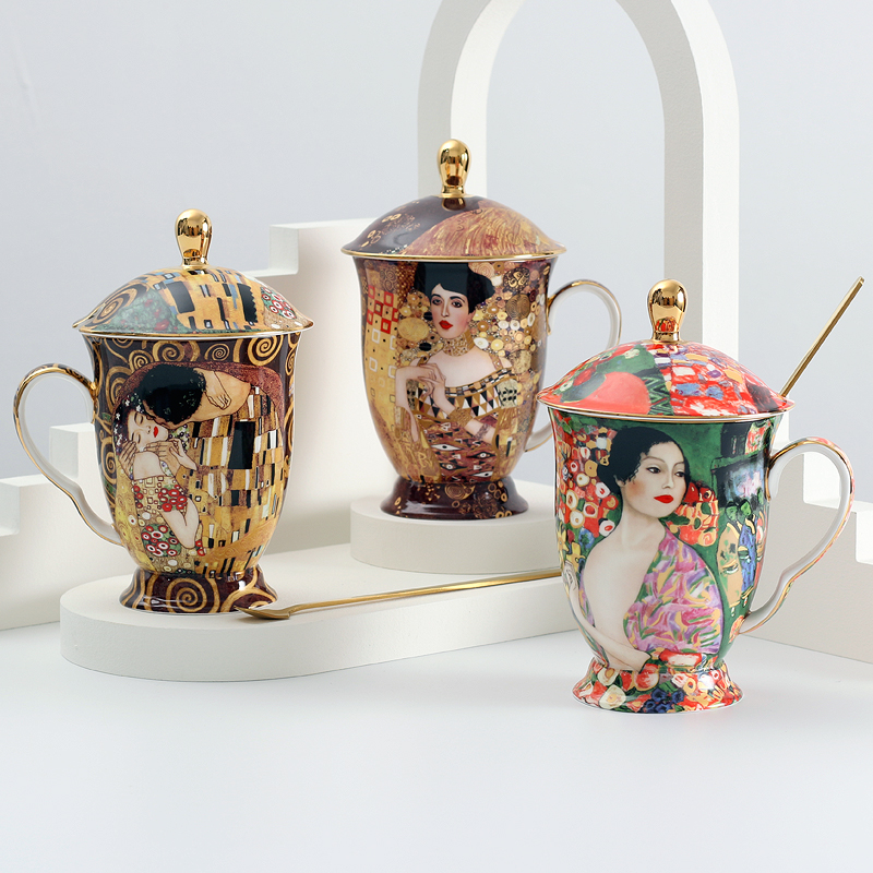 Coffee Mug with lid and spoon Bone China Antient Klimt painting Tea cups with lid Luxury Gift