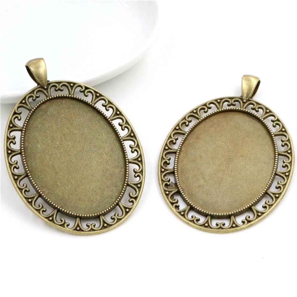 New Fashion  5pcs 30x40mm Inner Size Antique Bronze Pierced Style Cabochon Base Setting Charms Pendant (B2-08)