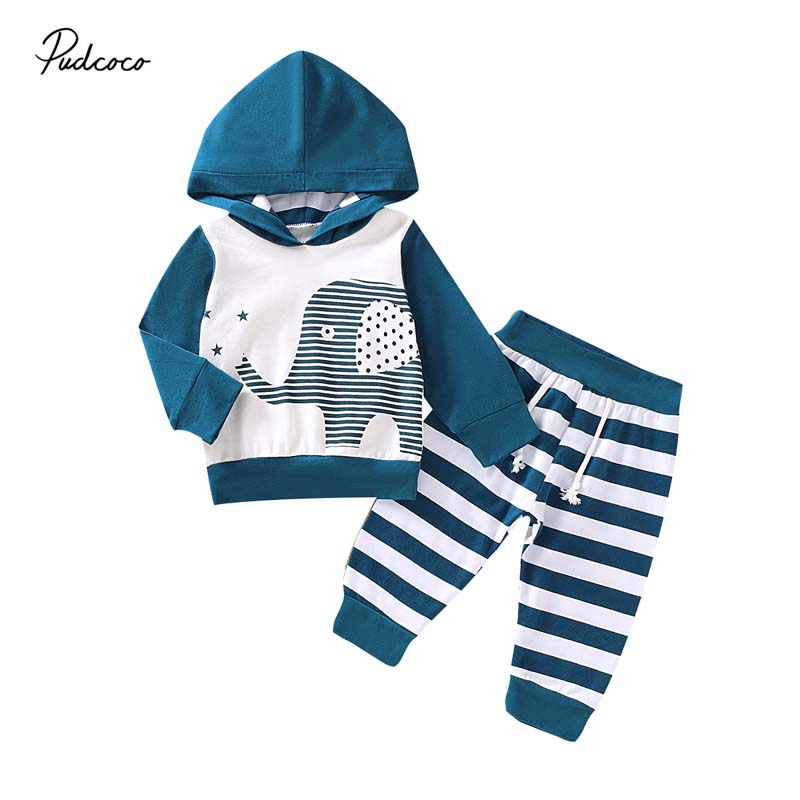 2Pcs Kids Baby Boys Girls Elephant Outfits Stripe Shirt Tops+Pants Casual Clothes Set