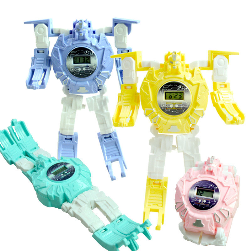 Children's Watches Manual Transformation Robot Watch Electronic Deformation Toys Gifts LXH