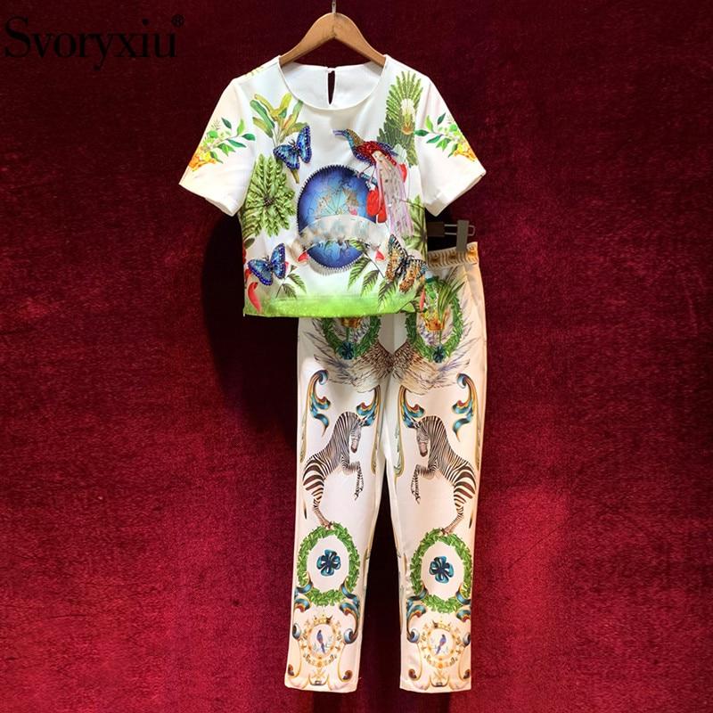 Svoryxiu 2020 Fashion Runway Summer Pants Suits Women's Diamond Butterfly Zebra Print Tops + Ankle-Length Pants Two Piece Set