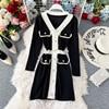 Women's Knit Dress Autumn Winter New Korean Temperament V-neck Long-sleeved Slim Hip Knit Dress Bottoming Sweater Dress ML488 2